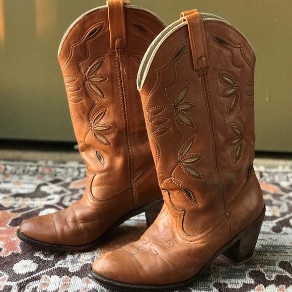 5ed3d6b073b Vintage💥Acme Dingo Cowboy Boots Inlaid Leather